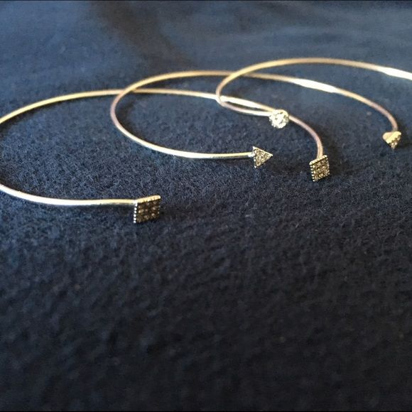 Silver Bracelets w Diamonds Bracelets from forever 21 each have a