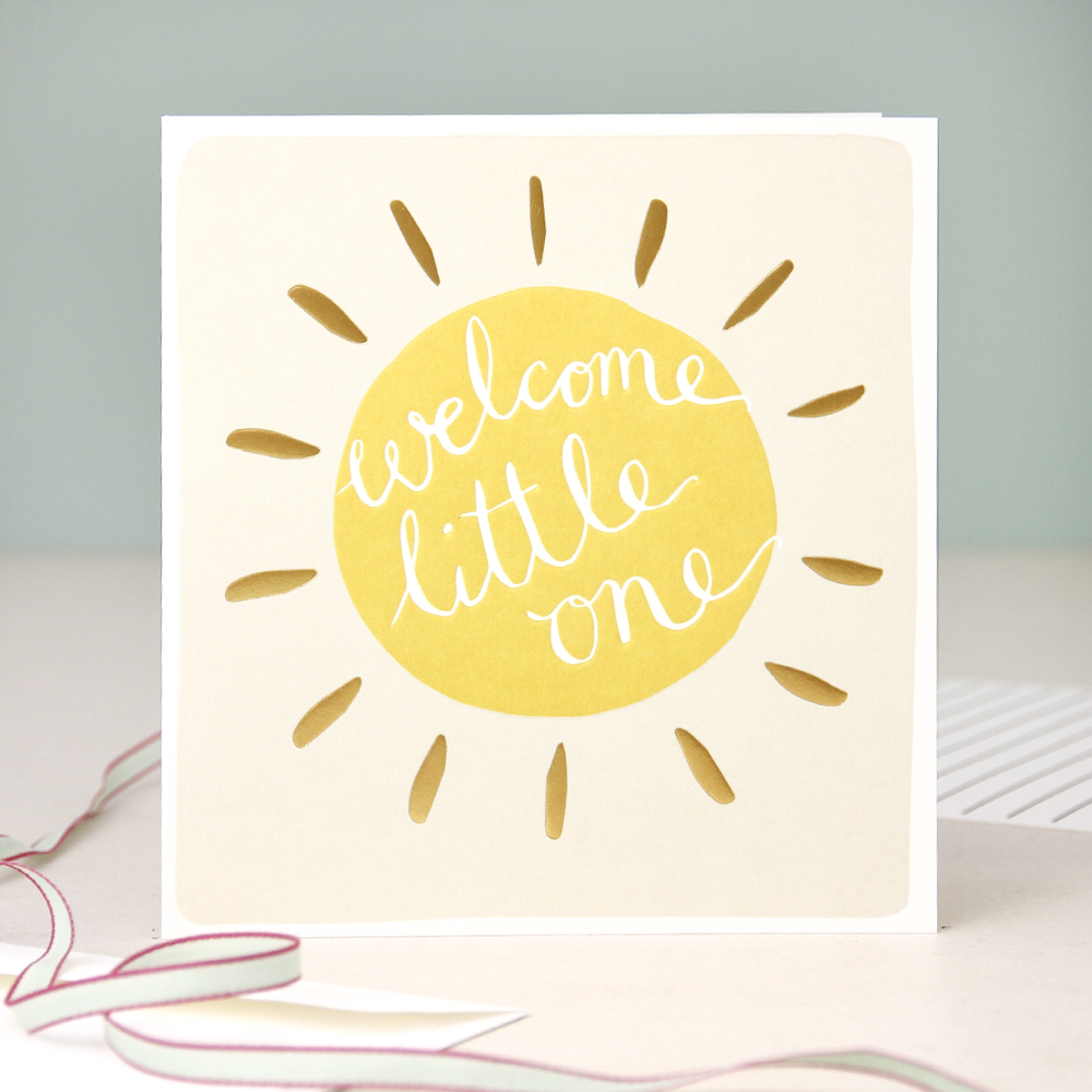 Modern calligraphy new baby card welcome little one