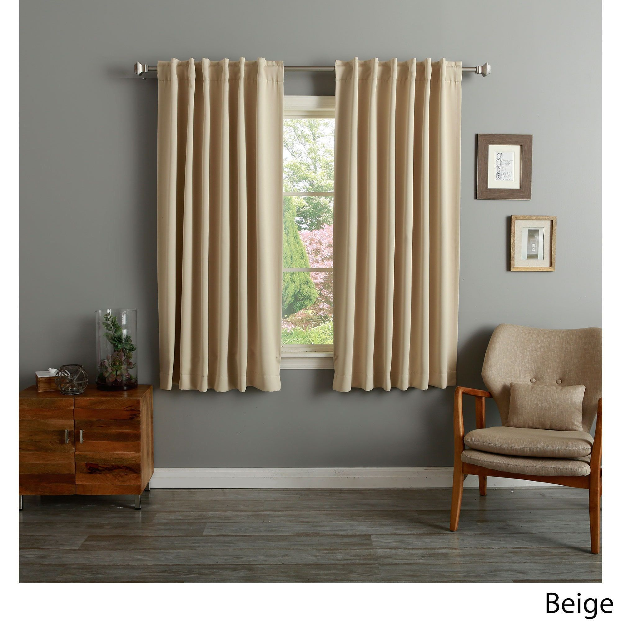 Aurora Home Solid Insulated Thermal 63 Inch Blackout Curtain Panel Pair Beige