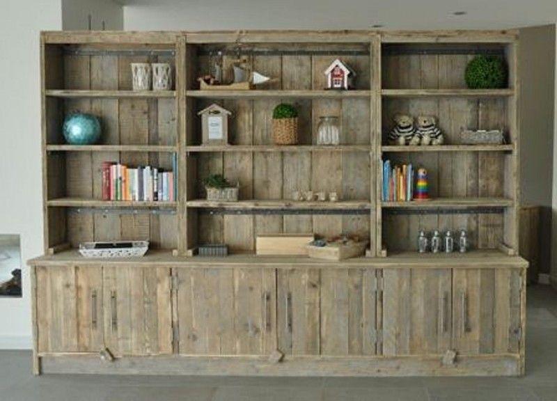 Boekenkast 300cm breed van gebruikt steigerhout 22131457 for Boekenkast steigerhout