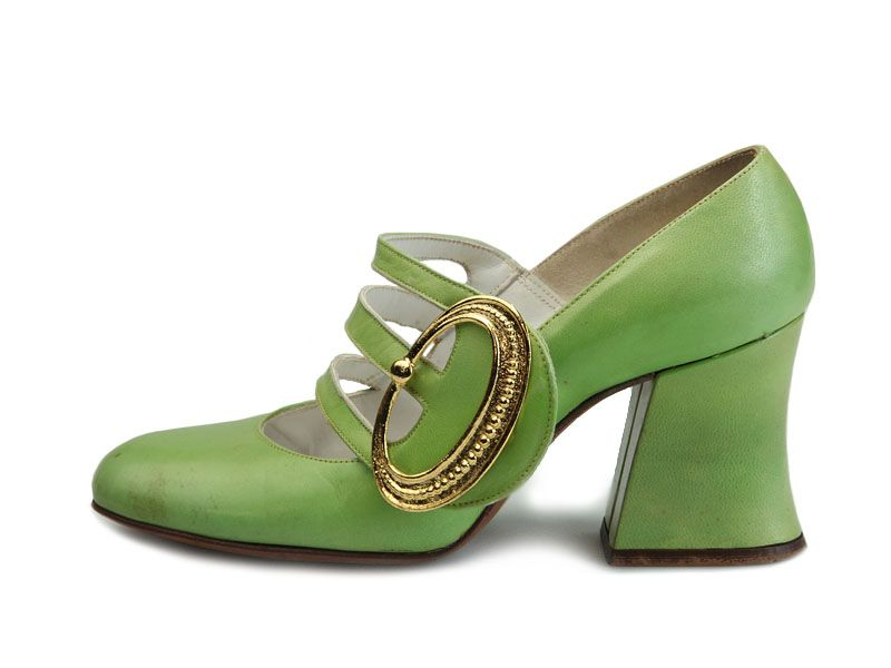 cd2574ecca0 1960s light green chunky heel pumps with three stripes over the instep and  gold color faux buckle by Demosette.