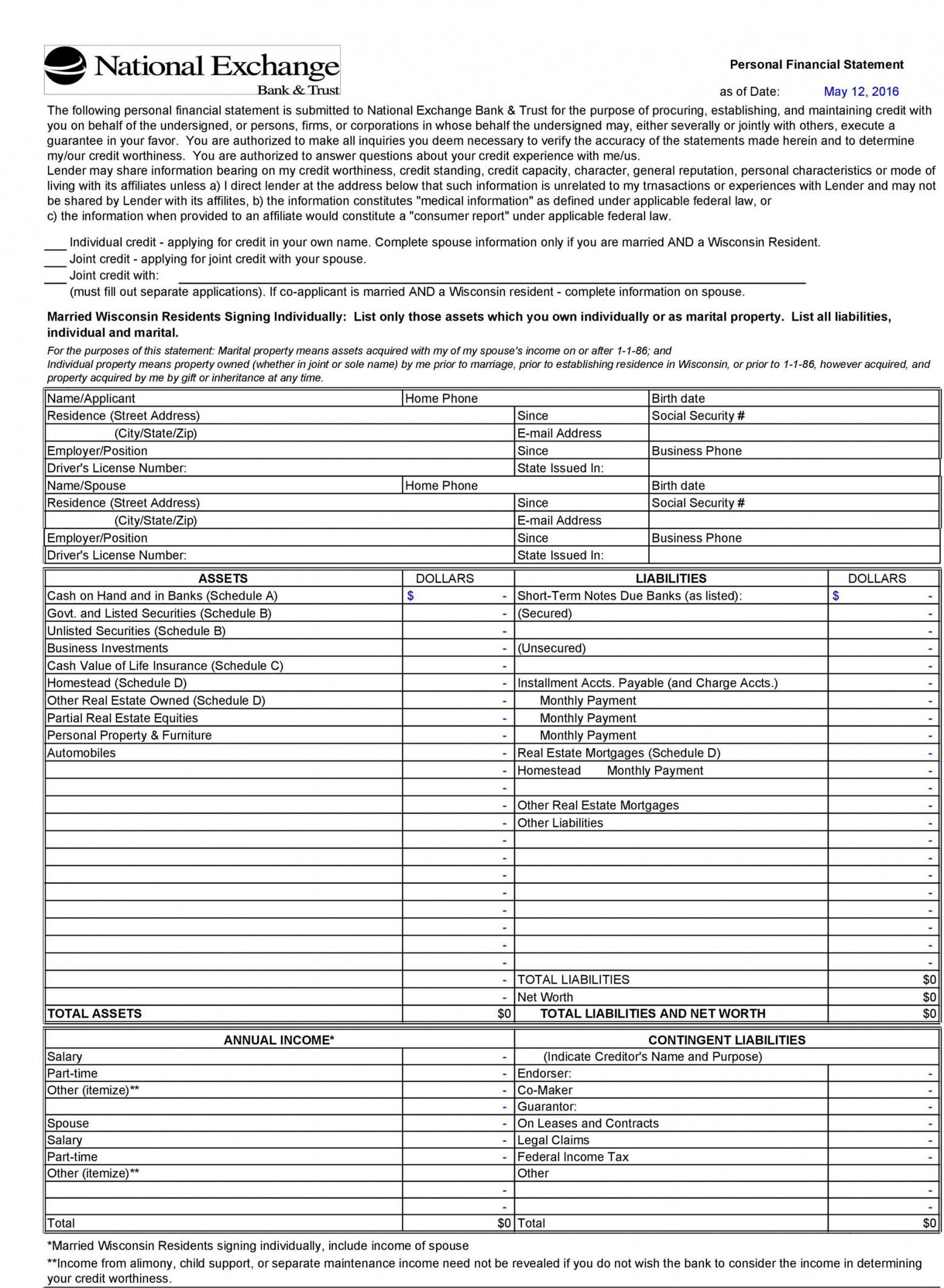 Explore Our Sample Of Personal Investment Policy Statement Template Personal Financial Statement Statement Template Financial Statement Net worth statement format individual