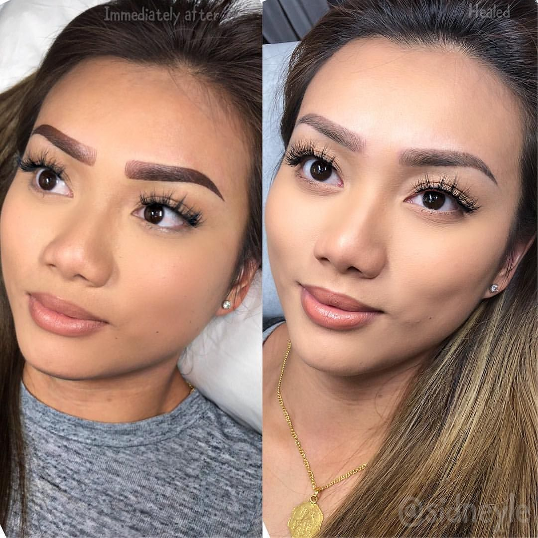 """Sidney Le Beauty ™️ on Instagram: """"6D microblading/powder combo brow tattoo """"healed"""" before the follow up touch up by Sidney. (Left: Right after. Right: Healed Brows). Often…"""" ,  #Beauty #Brow #Brows #Combo #follow #Healed #Instagram #left #microbladingbeforeandaftertouchup #MicrobladingPowder #Sidney #Tattoo #touch"""