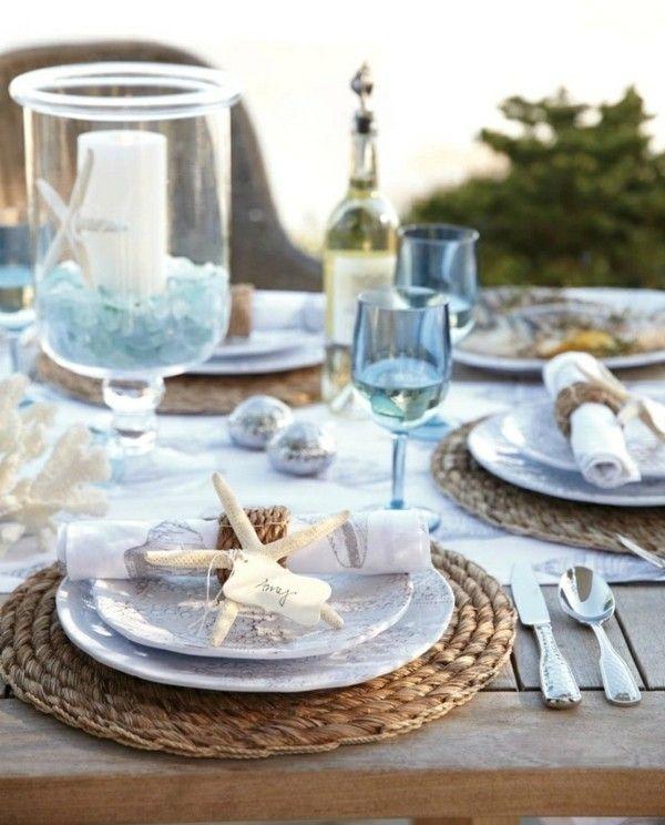 Tischdeko Maritim Look Ideen Blaue Gläser