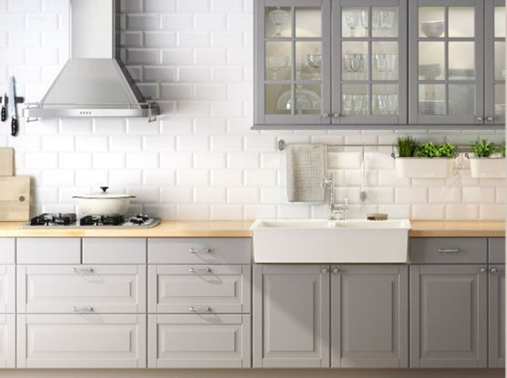 Light Grey Kitchen Cabinets With Amazing White Brick Wall Background Concept Combination With Wooden Table Cab Kitchen Design Grey Kitchen Cabinets New Kitchen