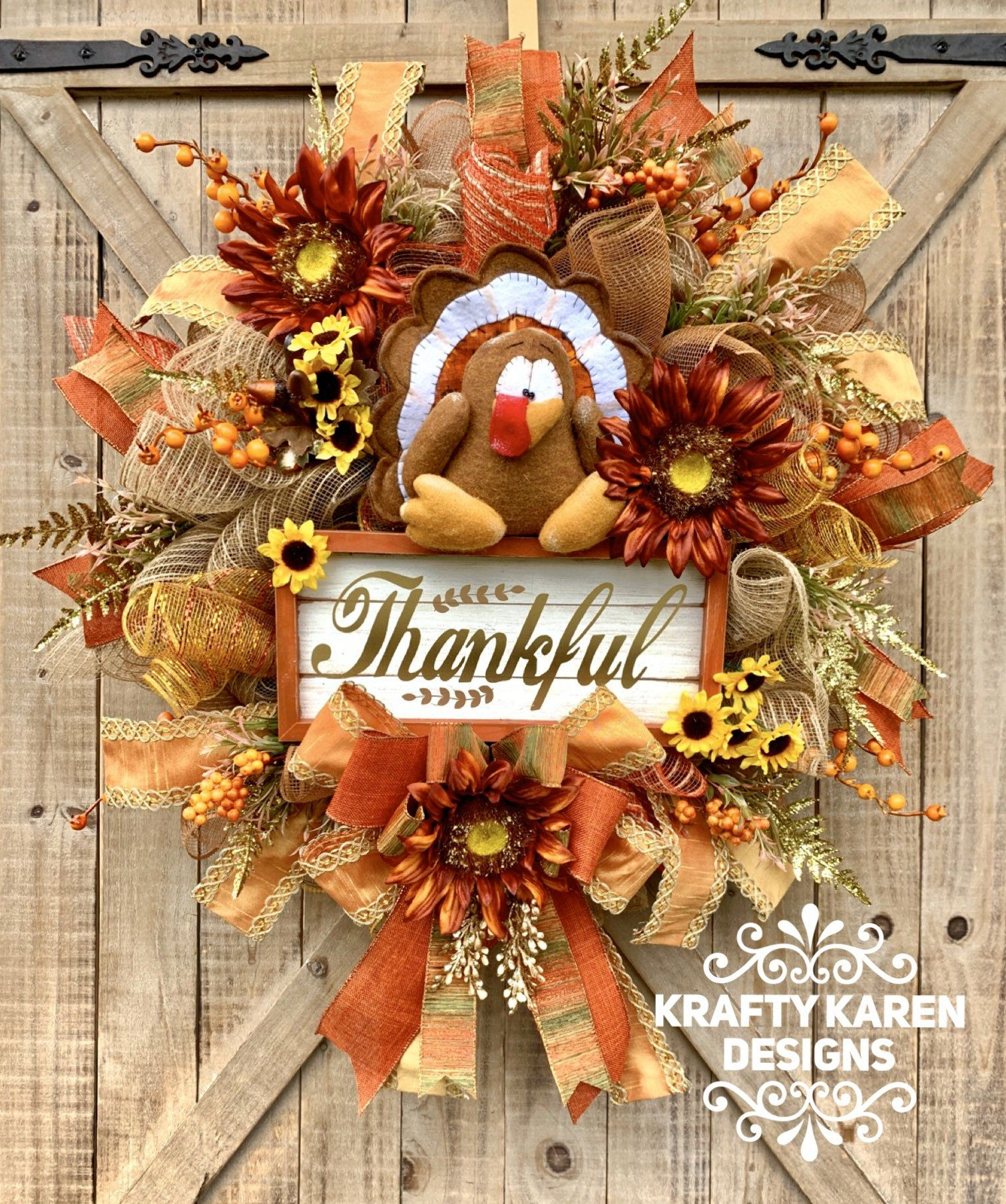 XL Thanksgiving Wreath, Fall Wreath, Fall Home Decor, Sunflower Wreath, Turkey Wreath, Autumn Wreath, Front Door Wreath, Thankful Wreath