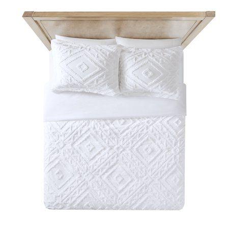 Better Homes And Gardens Chenille 3 Piece Duvet Cover Set Full Queen White Walmart Com Duvet Cover Sets Duvet Covers Cotton Bedding Sets
