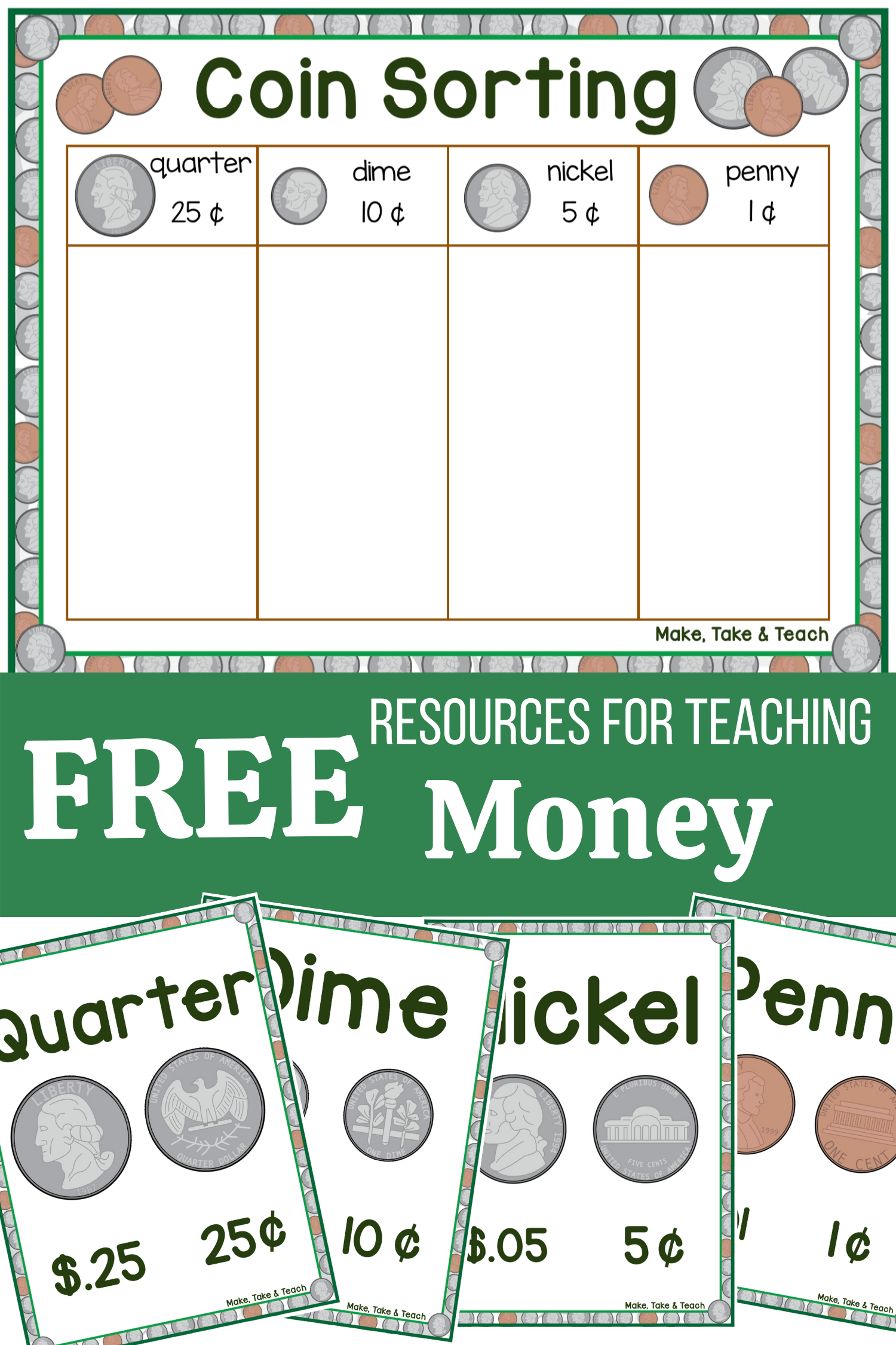 Coin Sorting Freebie Learning Money Skills