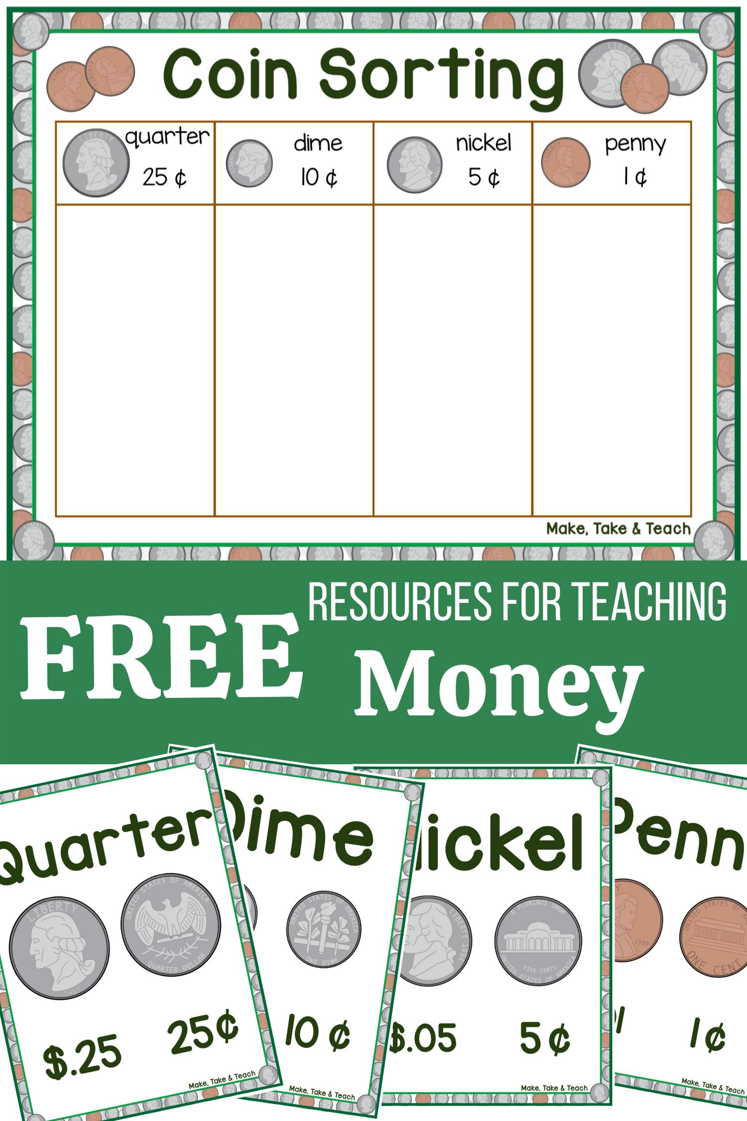 Coin Sorting Freebie Learning Money Skills Make Take Teach Math Centers Kindergarten Teaching Money Learning Money [ 2250 x 1500 Pixel ]