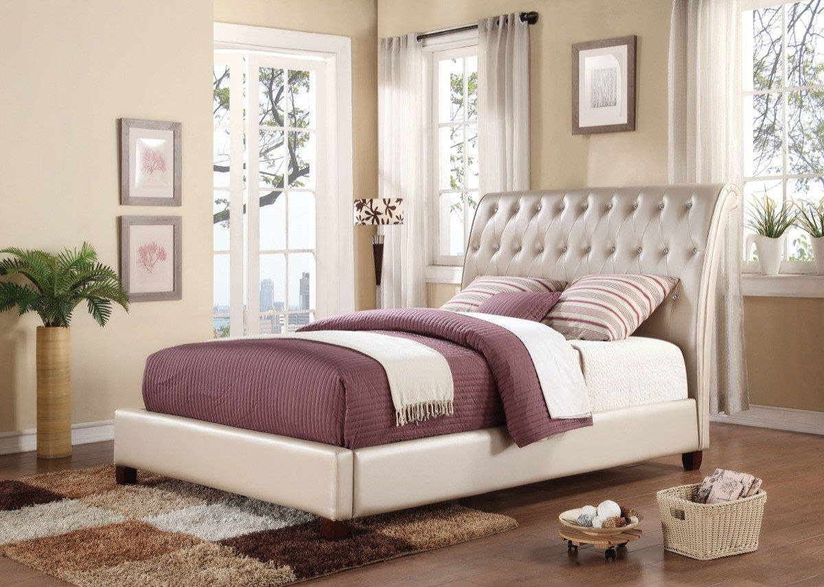 acme pitney eastern king bed pearl pu 22837ek king beds and products
