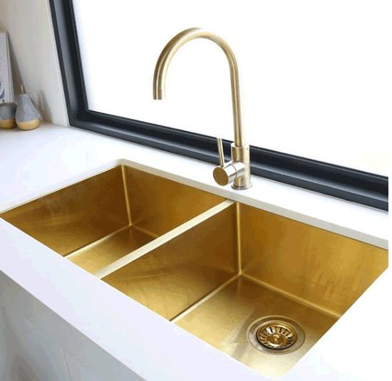 Zalo Double Brass Kitchen Sink $829.90 | Brass kitchen ...