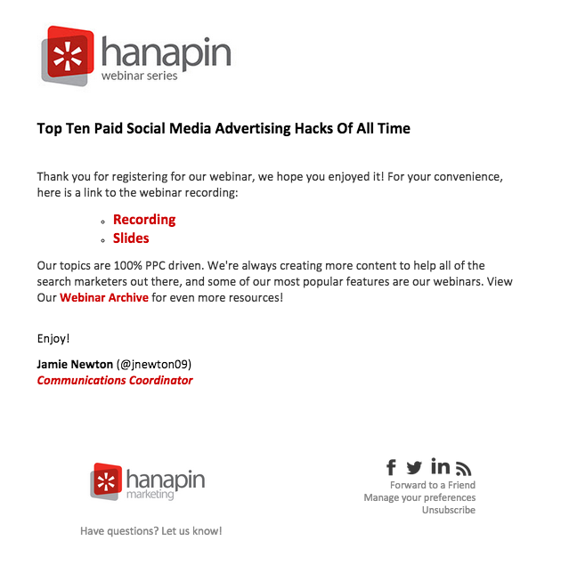 Webinar Follow Up Email From Hanapin  Remarkable Emails