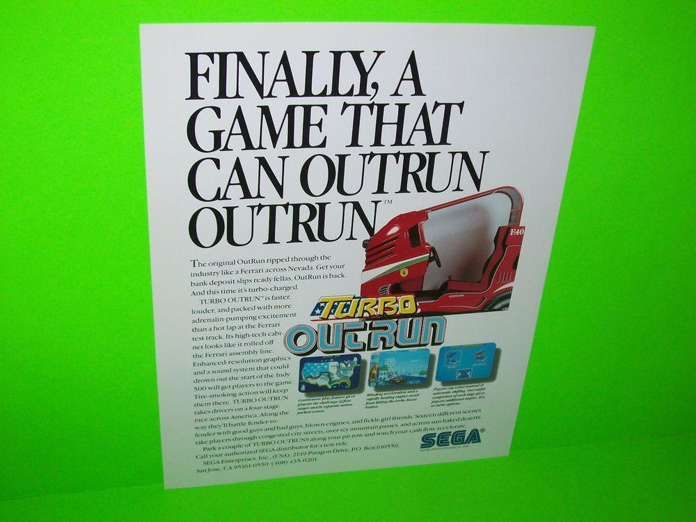 TURBO OUTRUN SITDOWN By SEGA 1988 ORIGINAL NOS VIDEO ARCADE GAME PROMO FLYER #arcadeflyers #videogameflyer #videoarcade #segaoutrun #pinballflyers.net