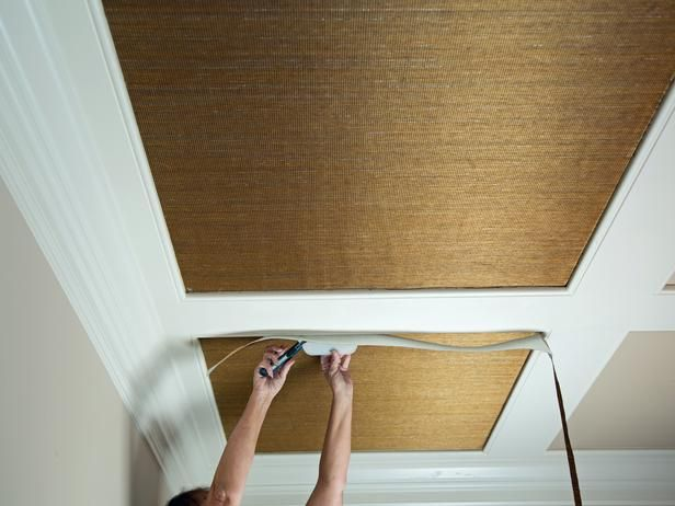 How To Install Grasscloth On A Coffered Ceiling For The