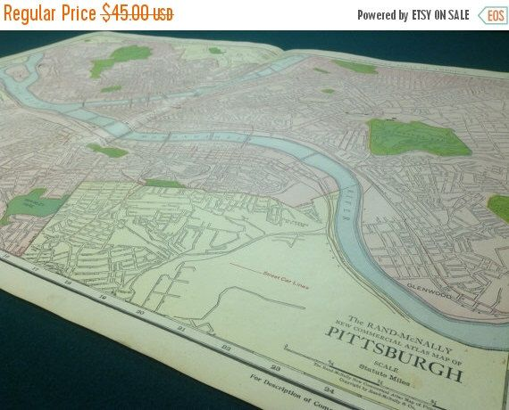 A personal favorite from my Etsy shop https://www.etsy.com/listing/271077680/on-sale-1917-antique-map-of-pittsburgh