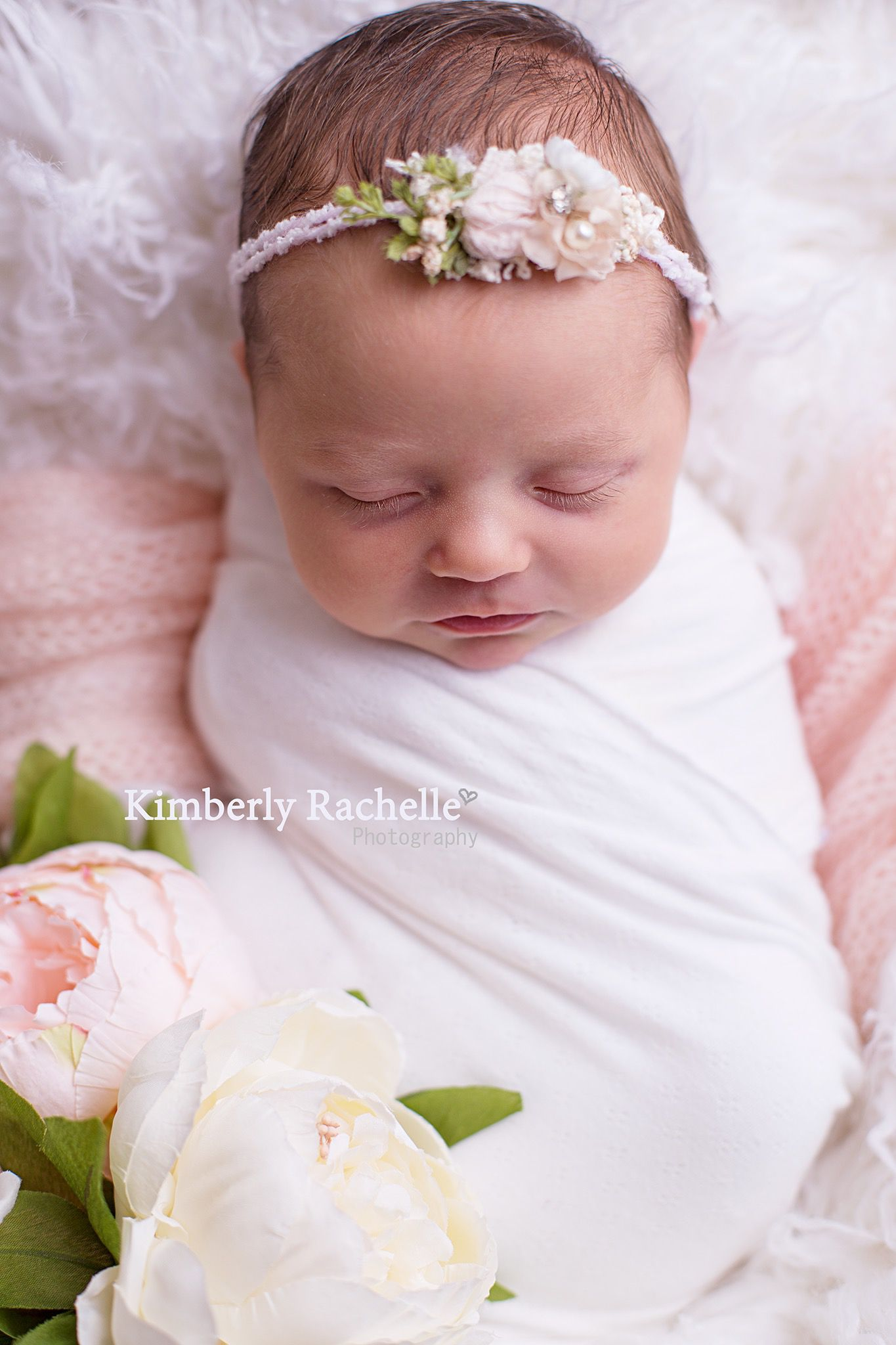 Newborn baby girl pictures photography session pink and white