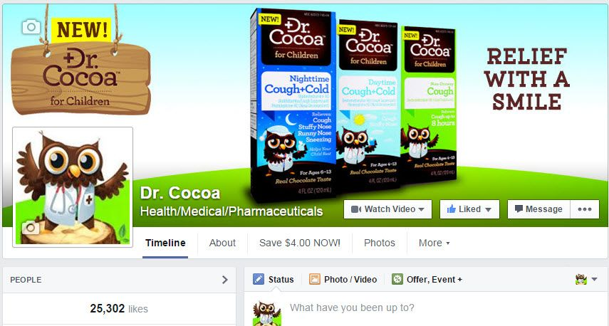 Find Dr. Cocoa on Facebook for fun, sick-day advice and special offers!    http://www.facebook.com/DrCocoaforChildren