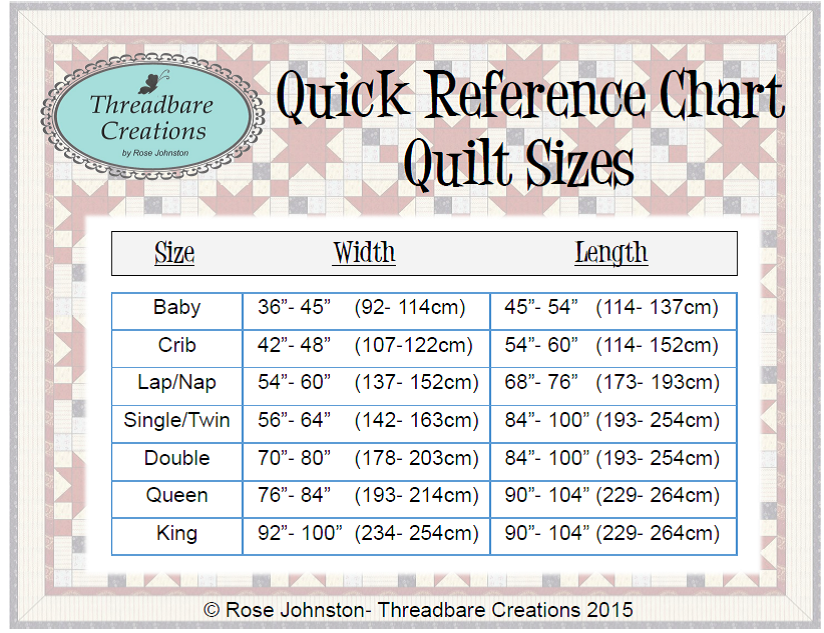 Threadbare Creations Free Printable Quilt Sizes Quilting Charts