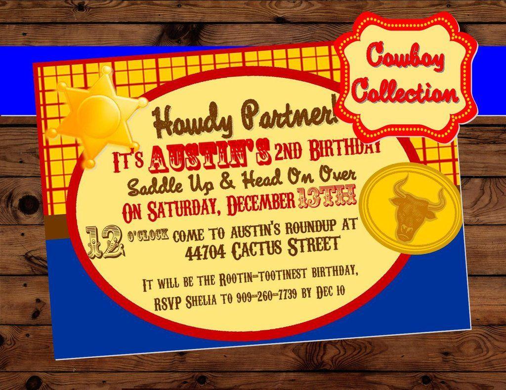 toy party cowboy invitation cowboy birthday toy pinterest
