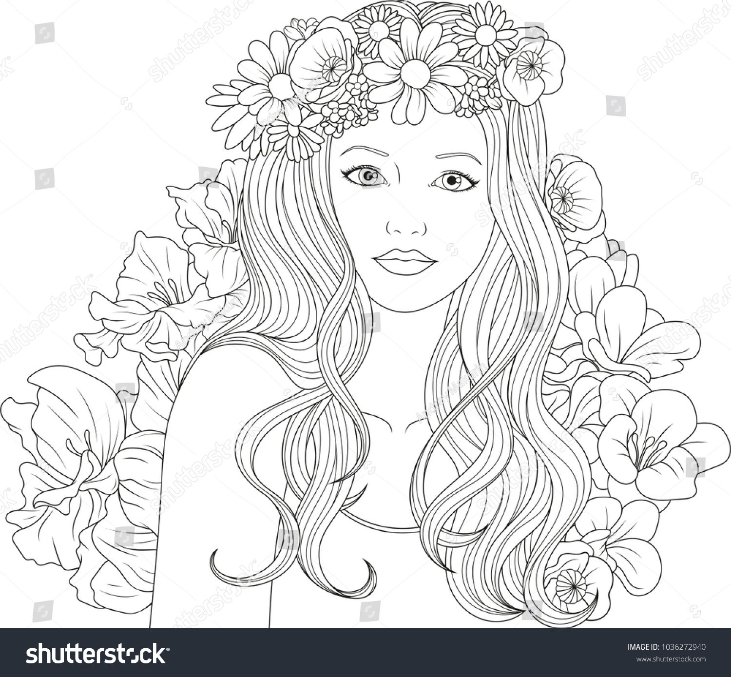 Vector illustration, beautiful girl coloring, on white background ...
