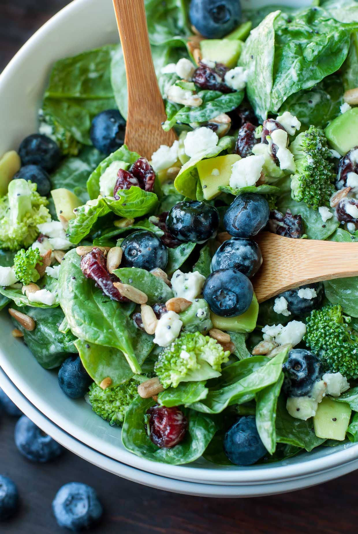 Blueberry Broccoli Spinach Salad with Poppyseed Ranch - Peas And Crayons