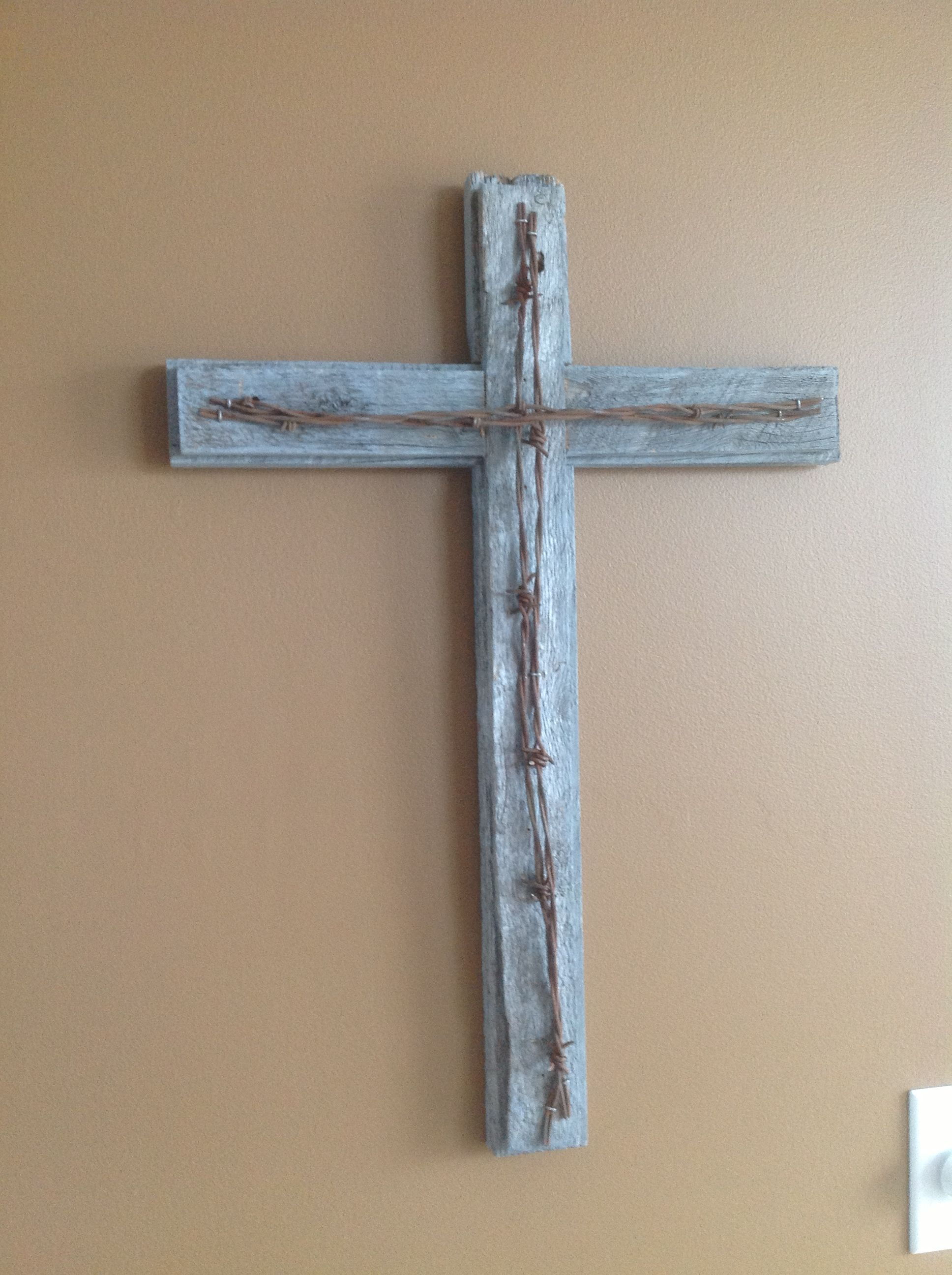Barn Wood Cross With Barbed Wire One Of 2 Different