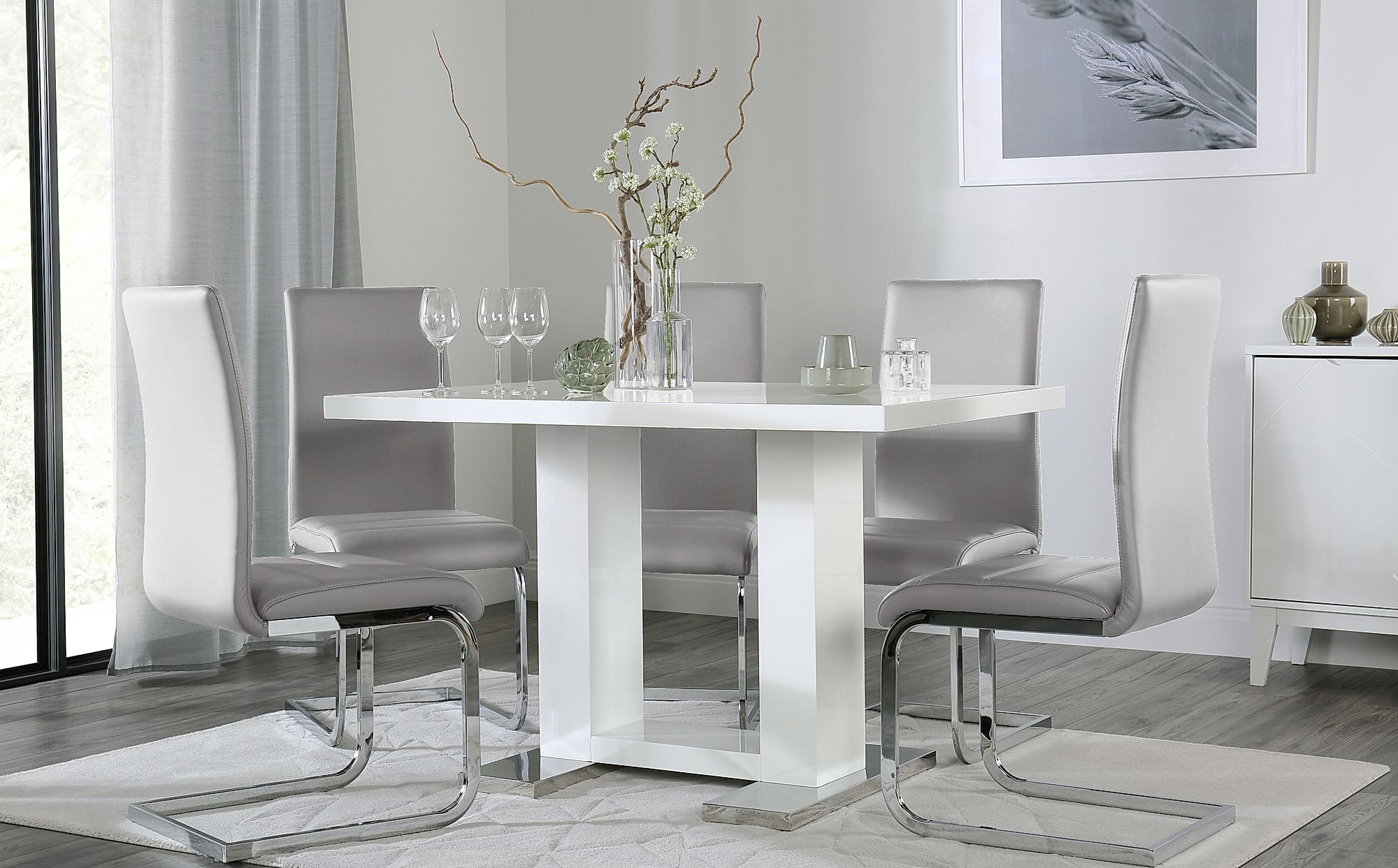 Joule White High Gloss Dining Table With 4 Perth Light Grey