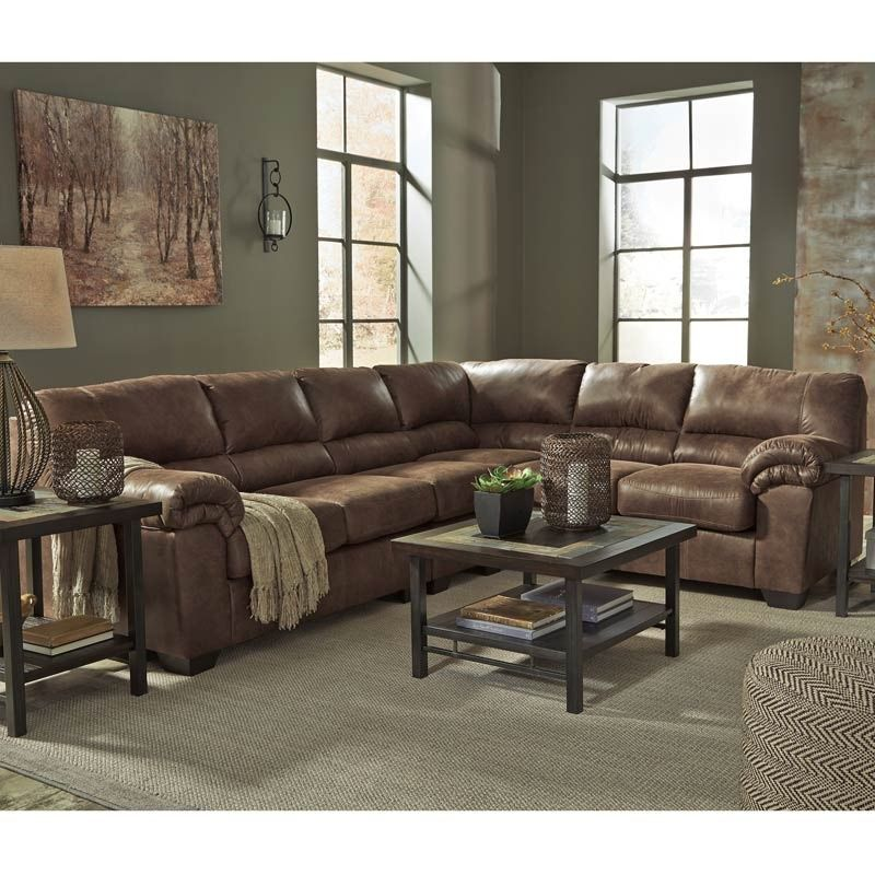Best Ashley Bladen Brown Padded Arm Faux Leather Sectional 400 x 300