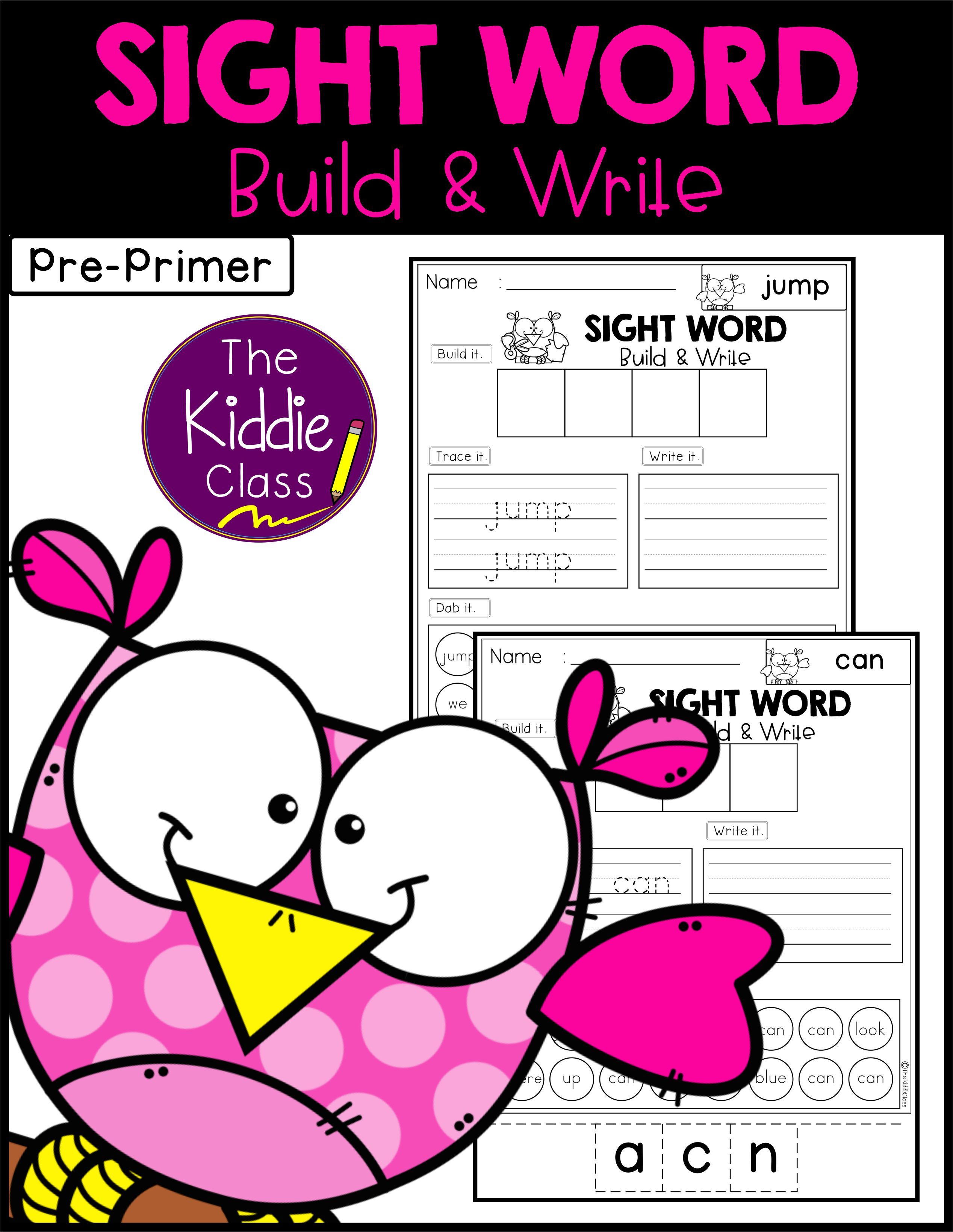 Sight Word Build And Write Pre Primer