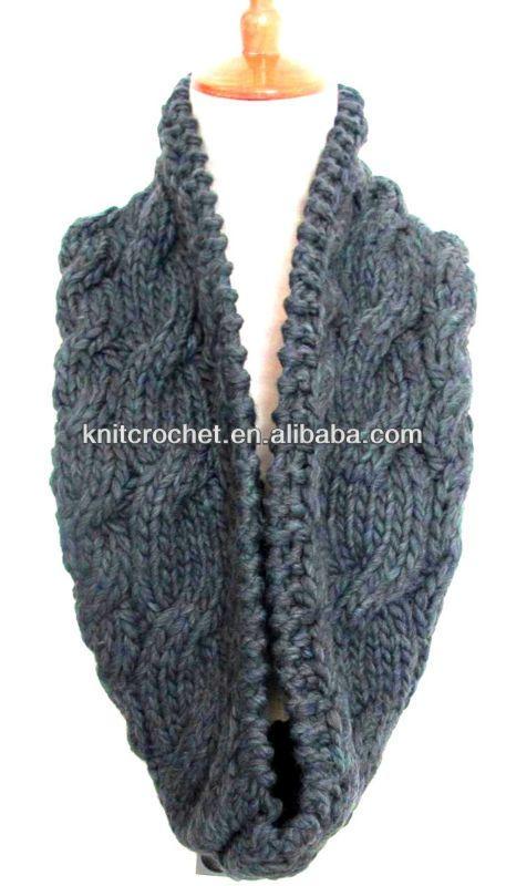 100% mano cable de punto cuello del tubo patrón bufanda en color ...