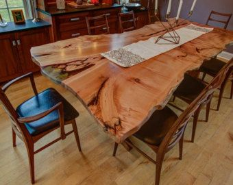 Big Leaf Maple   Dining Room Table Live Edge With Custom Epoxy Inlay   Will  Make To Order