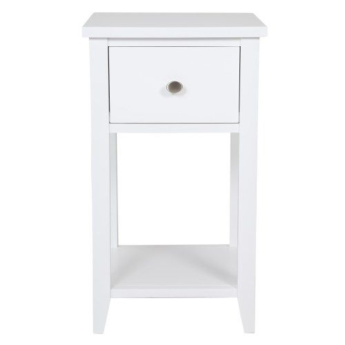 Best Skinny New England 1 Drawer Bedside Table Simple White 400 x 300