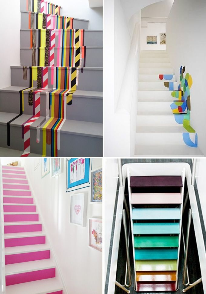 Lighting Basement Washroom Stairs: Color And Tape On The Stairs.