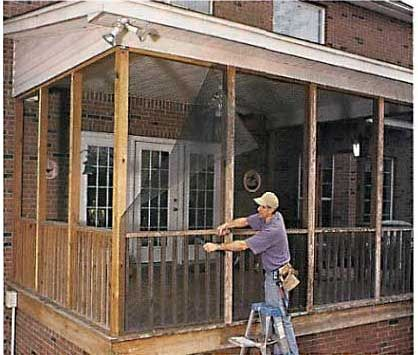 Do it yourself screened porch todays homeowner windows and doors do it yourself screened porch todays homeowner windows and doors weekend project screen it yourself porch in the news screen tight solutioingenieria Gallery