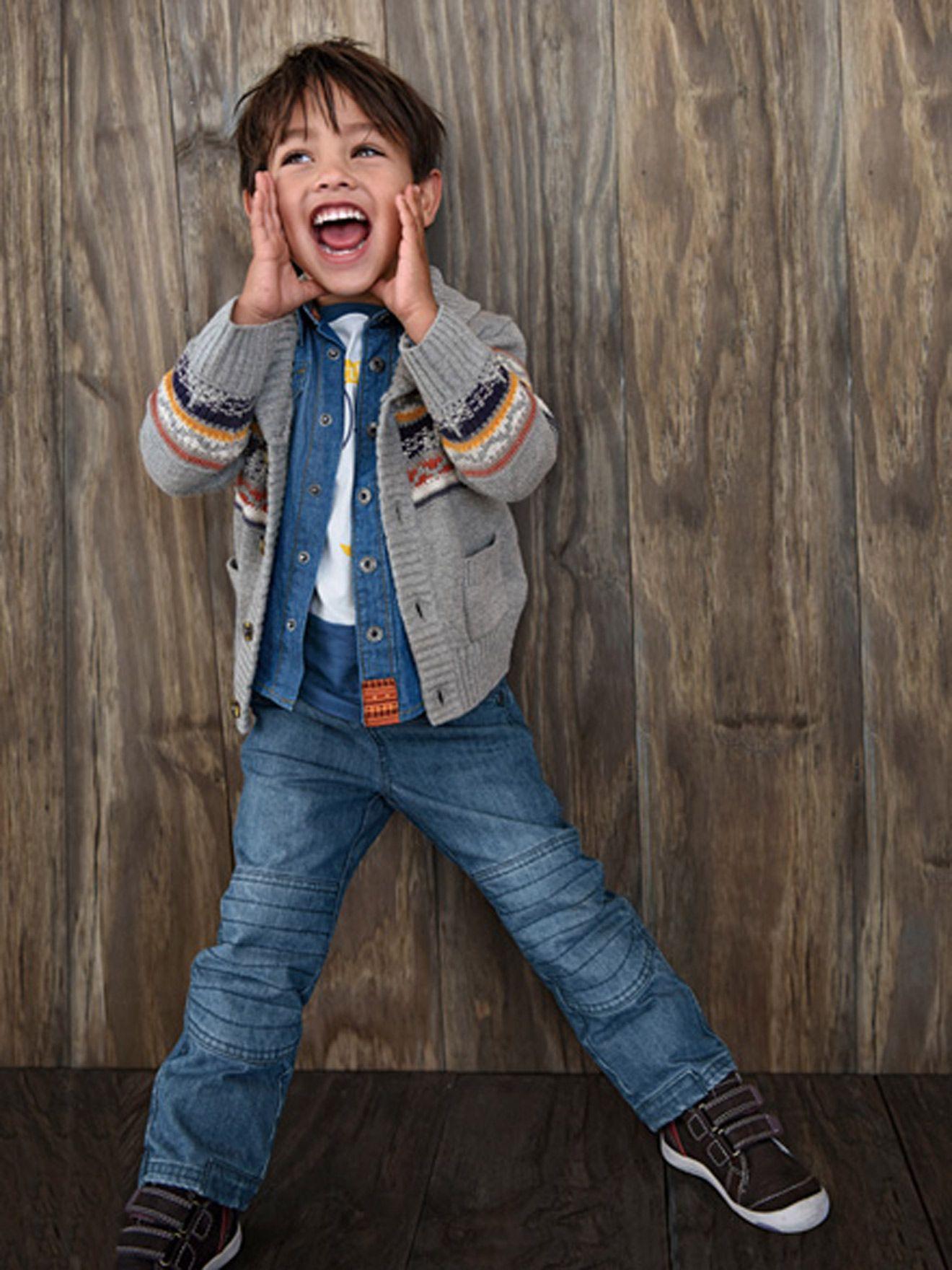 The outfit Boys T-Shirt + Boys Denim Shirt + Boys Cardigan + Narrow Fit - Boys Jeans -