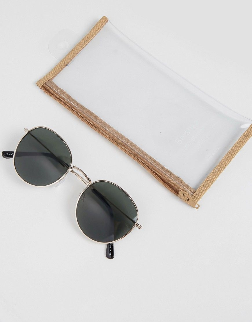 7431fc1dd4 Bershka Retro Round Sunglasses In Gold With Black Lens - Gold ...