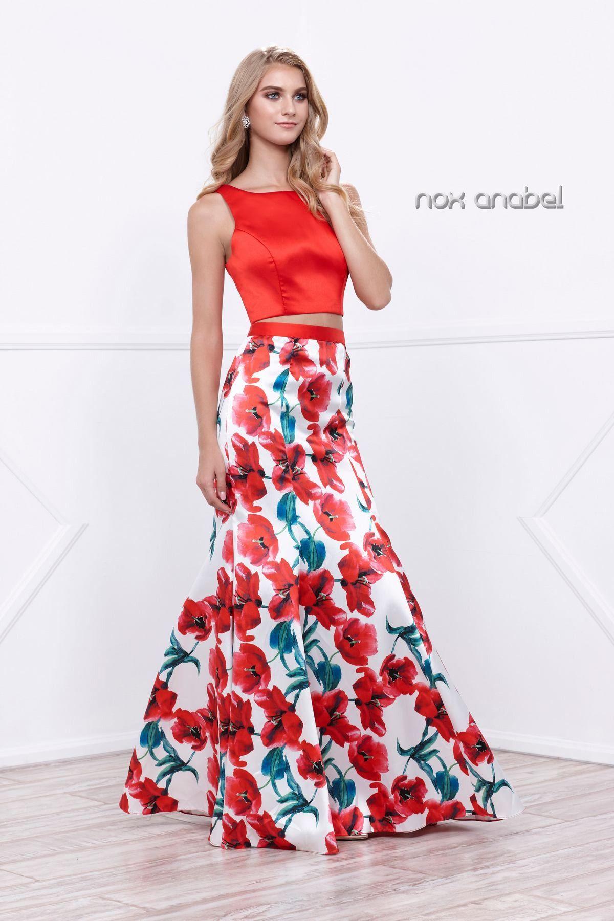 Red twopiece crop top floral print dress by nox anabel