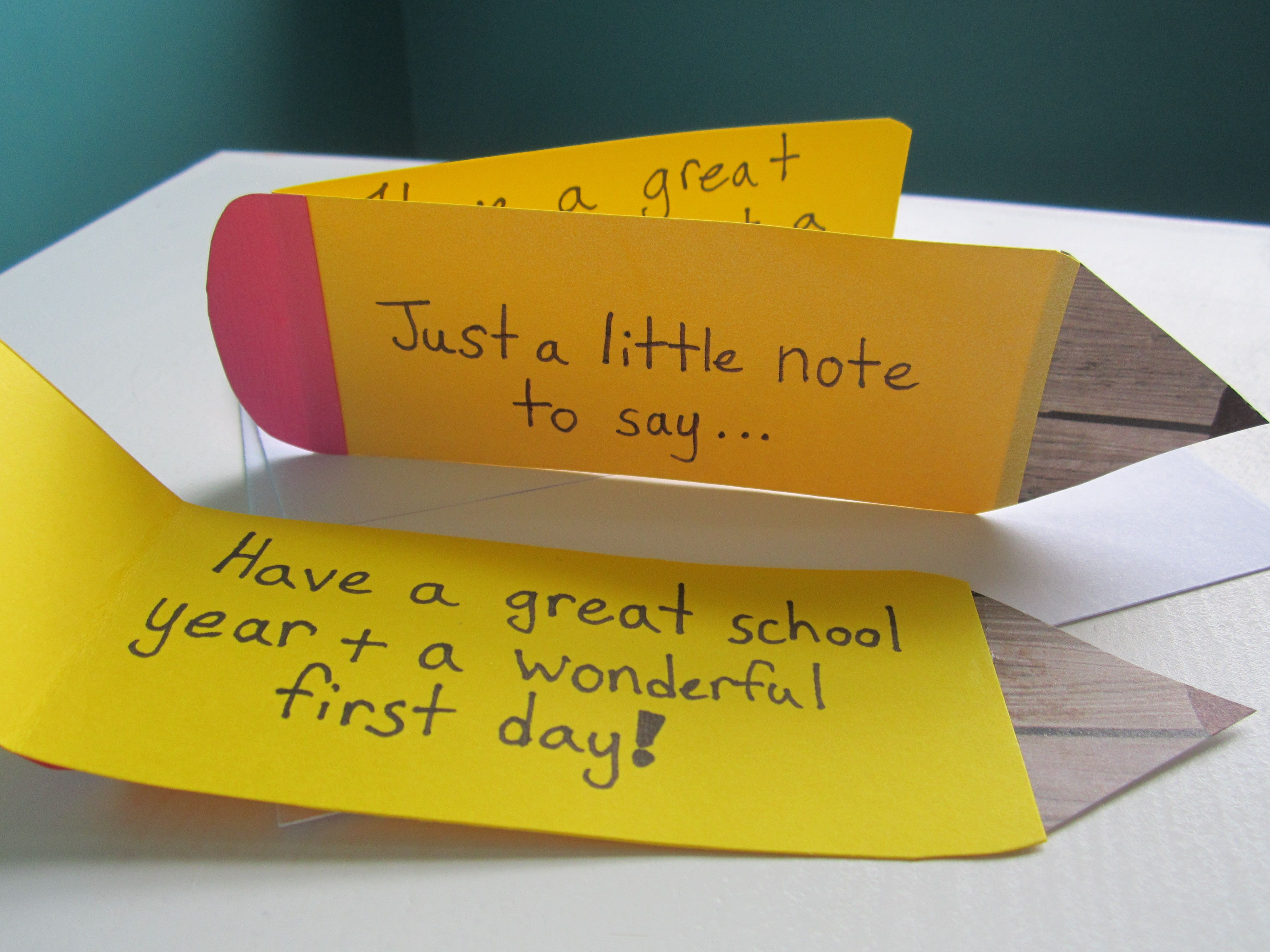 Back to School Card - First day of school note. I made this card