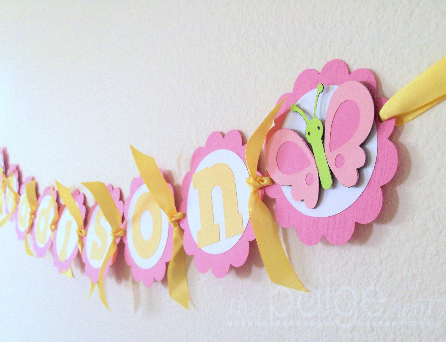 Baby Shower Yellow And Pink ~ Butterfly banner pink white yellow lime green