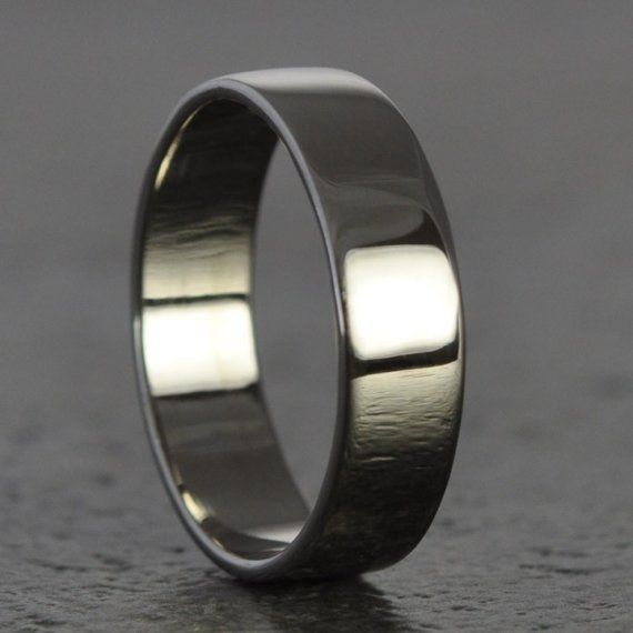 White Gold Mens Ring 18K White Gold Hand Forged Big Mens 5mm