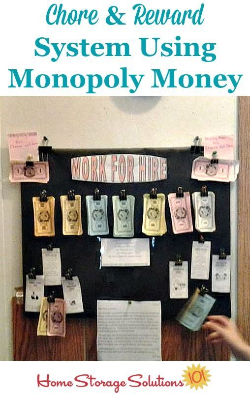 Great Chore Chart And Reward And Allowance System Using Monopoly Money {featured  On Home Storage Solutions