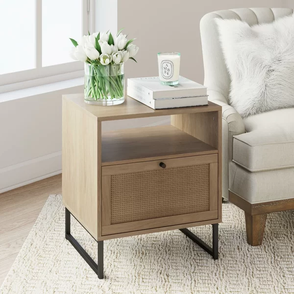 Hugette Sled End Table With Storage In 2020 Bedroom Night Stands Living Room End Tables Living Room Storage