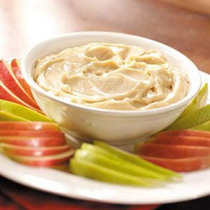 "Caramel Fruit Dip ~ ""This creamy, melt-in-your-mouth dip, served with assorted fruits, makes a refreshing accompaniment to a holiday cheese tray."" says the contributor, Trish Gehlhar, Ypsilanti, North Dakota"