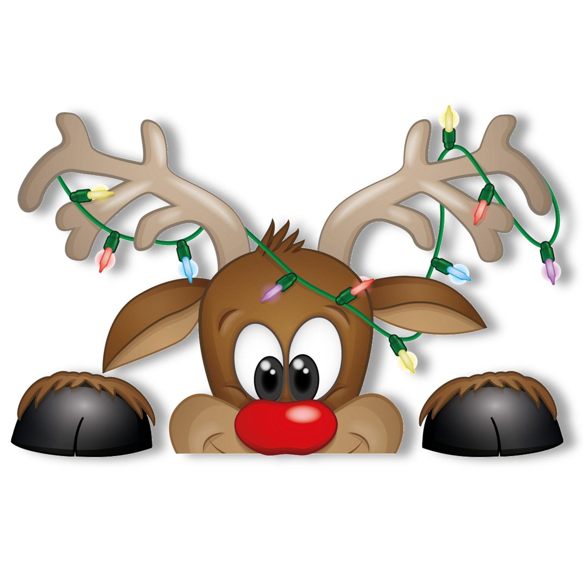 Peeking Santa And Rudolph Window Clings