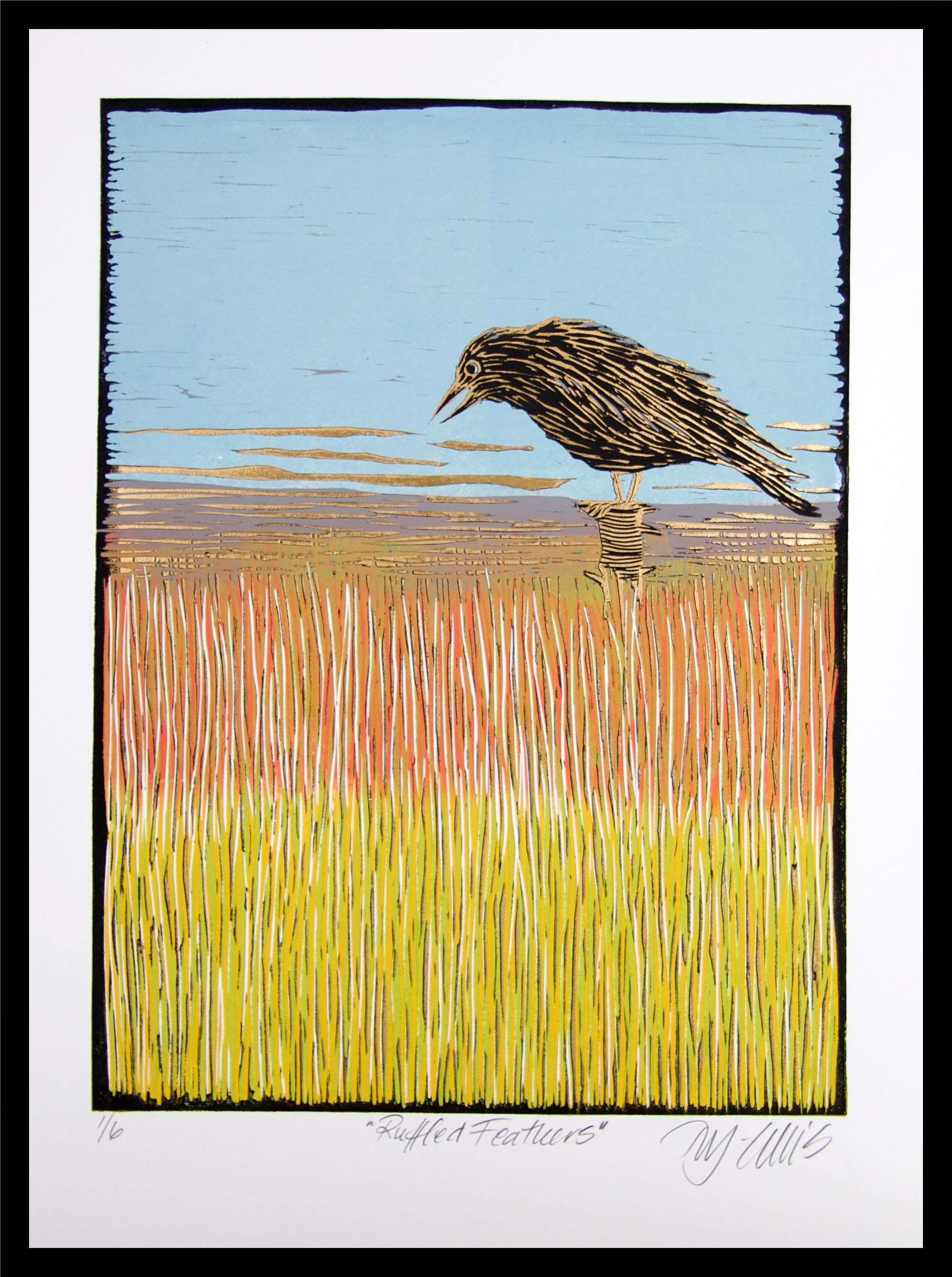 Almost flying Mariann Johansen-Ellis linocut signed birds handprinted girl