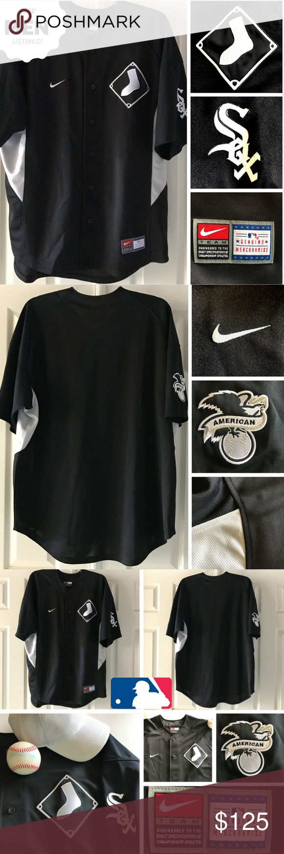 "🆕 White Sox Jersey Official MLB Merchandise, Nike Hit it out of the park with this Chicago White Sox jersey! Official MLB merchandise by Nike.   * Size Lg (approx 27"" flat, armpit to armpit   34"" long, neck to back hem) * 100% polyester * Full 6-button f"