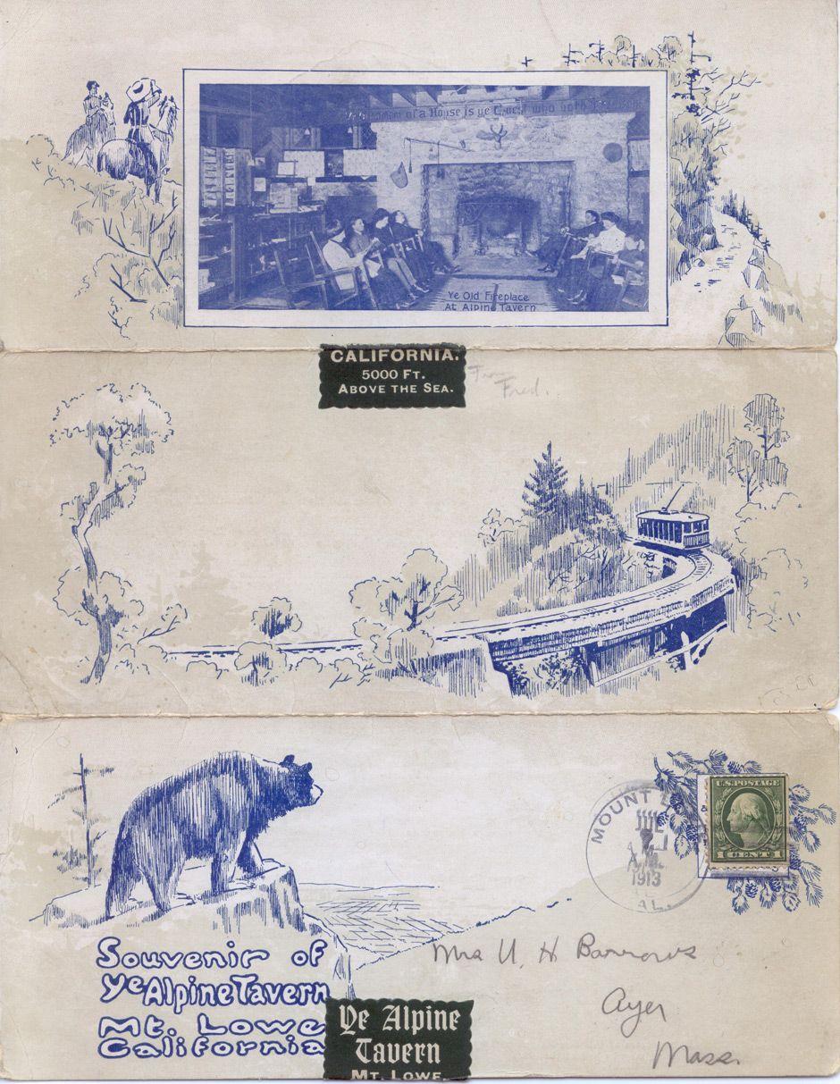 Alpine Tavern Folding Menu 1913 Mount Lowe Preservation