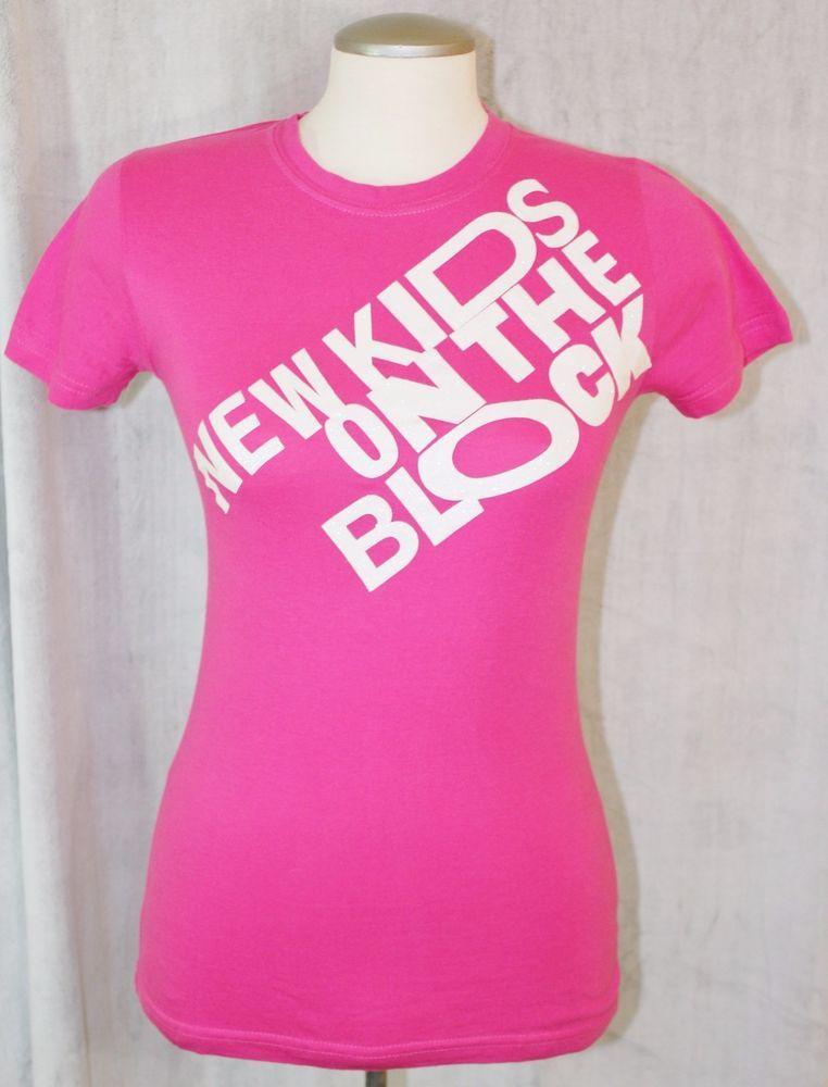 e3e93255a4992 New Kids On The Block NKOTB Womens Sz S Pink White Glitter Cotton T Shirt  Click