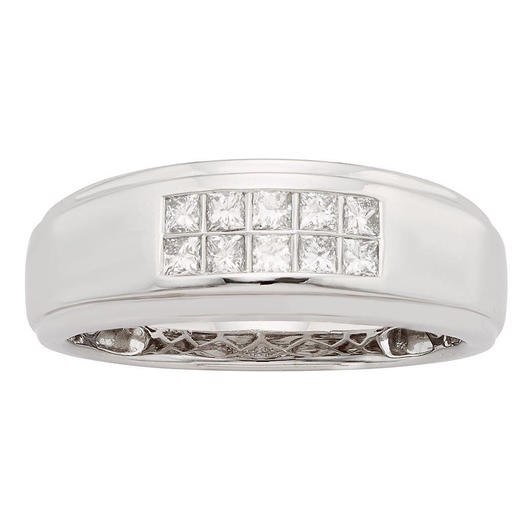 Sofia 14K Gold 1/2ct TDW Princess Cut Men's Ring