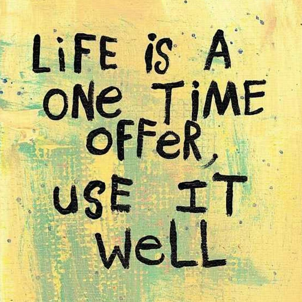 "Favorite Quote About Life Quote ""life Is A One Time Offer."" Positive Quote Uplifting"
